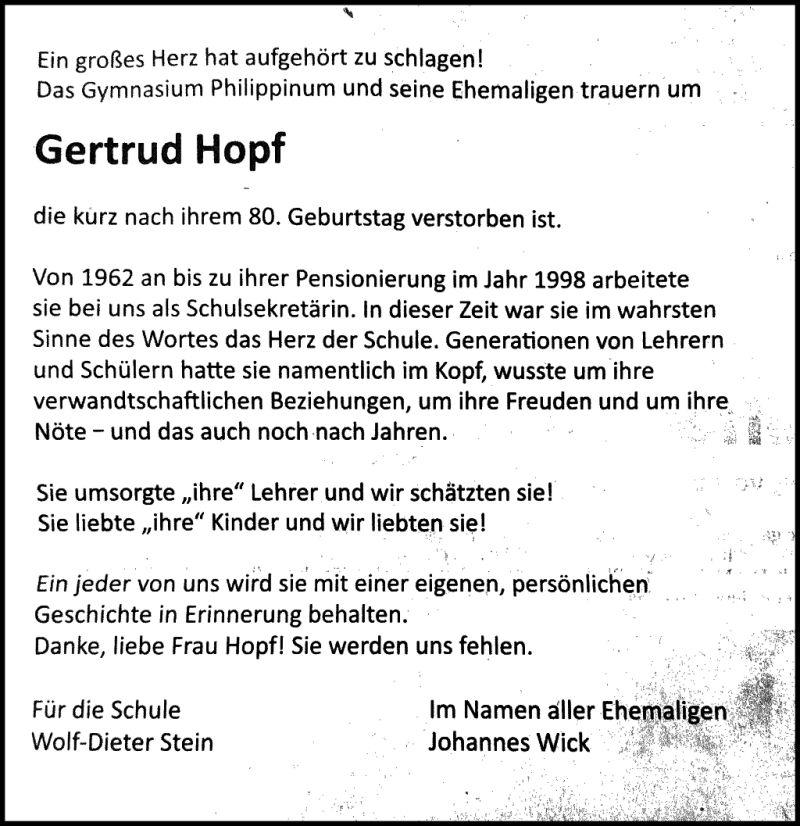 Todesanzeige Hopf